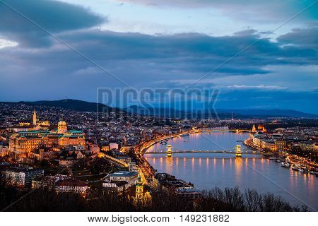 Aerial view of Budapest, Hungary with clouds. Buda castle, Chain bridge and Parliament building