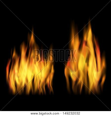 Vector set fire on a black background. Burning effect. Abstract flames design.