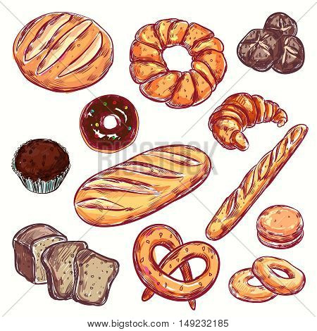 Line bread bakery icon set isolated colored elements with different types of bread and loaves vector illustration