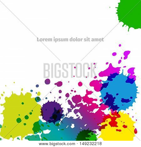 Abstract white background with watercolor splashes and drops. Colorful strokes of brushes.