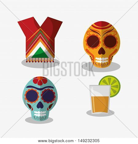 candy skulls with mexican culture related icons image vector illustration