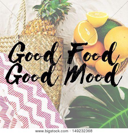 Summer Break Lifestyle Oranges Vacation Words Concept