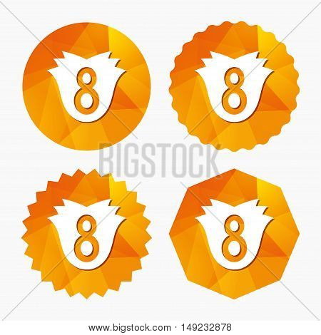 8 March Women's Day sign icon. Flower symbol. Triangular low poly buttons with flat icon. Vector