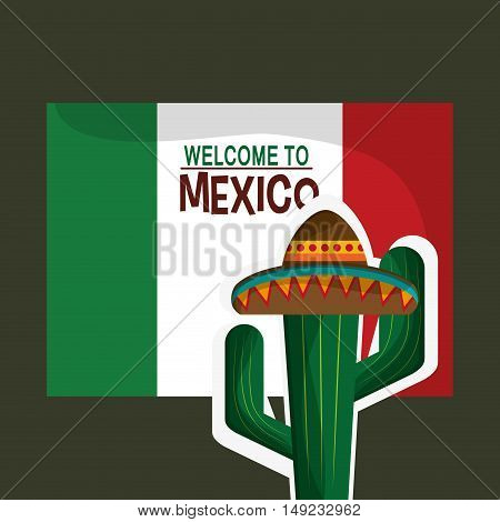 flag colors with mexican culture related icons image vector illustration