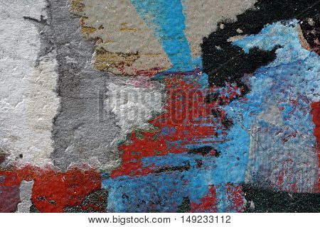 Colorful Torn Old Posters  As Abstract Colorful Textured Background 3
