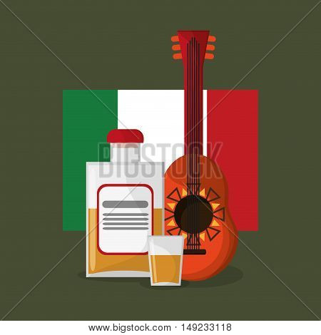 guitar with mexican culture related icons image vector illustration