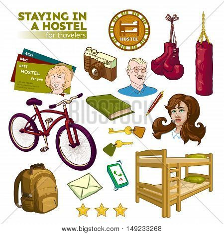 Hostel elements set with beds keys and visiting cards tourist and sports equipment staff isolated vector illustration