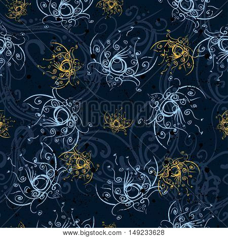 Abstract Floristic seamless background pattern with flowers for the girl textiles.