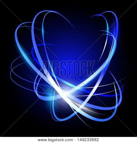 Blue abstract vector background with light effect and neon flash. Glowing lines.