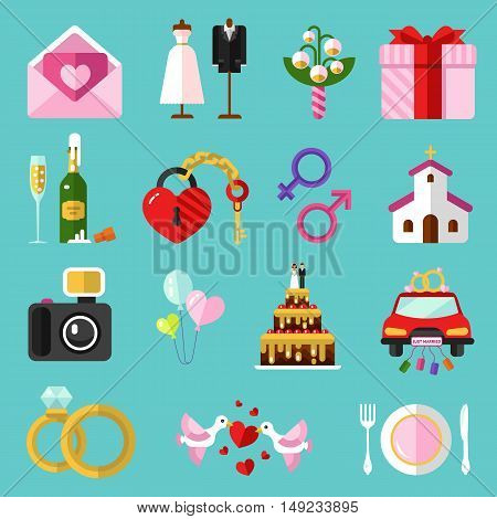 Flat design vector icons set of wedding or marriage. Invitation, bridal bouquet, rings, champagne, bride and groom clothing, cake, gift box, lock and key, birds, car, food, church, camera.