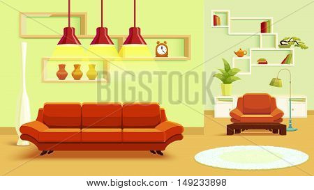 Living room interior design in beige green color with red soft furniture and light carpet vector illustration