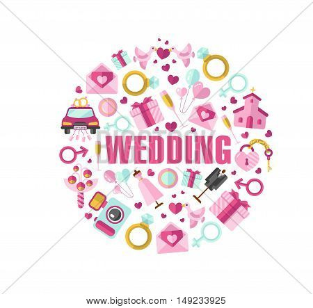 Flat design vector illustration of wedding in round shape. Bride and groom clothes, invitation, bridal bouquet, rings, champagne, gift, lock and key, birds, car, air balloon, food, camera, church.