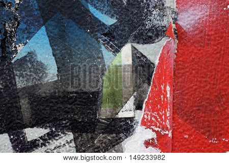 Colorful Torn Old Posters  As Abstract Colorful Textured Background 2
