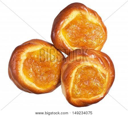 Fresh sweet buns with apricot jam isolated on white background