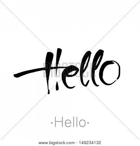Hello. Brush lettering composition. Vector illustration.