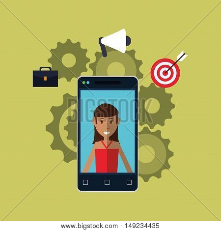 person with workforce related icons image vector illustration