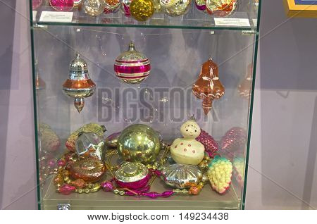KLIN RUSSIA - JANUARY 16 2016: Old Christmas decorations. Museum of Christmas toys.