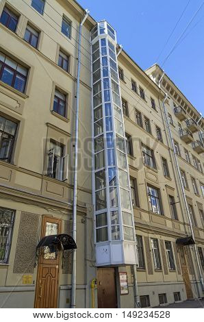 External elevator in an old residential building. Moscow Kropotkin lane 19/33.
