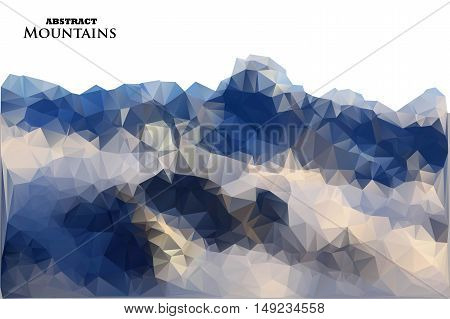 Abstract Background With Mountains In Polygonal Style. Vector Illustration. Design Element.