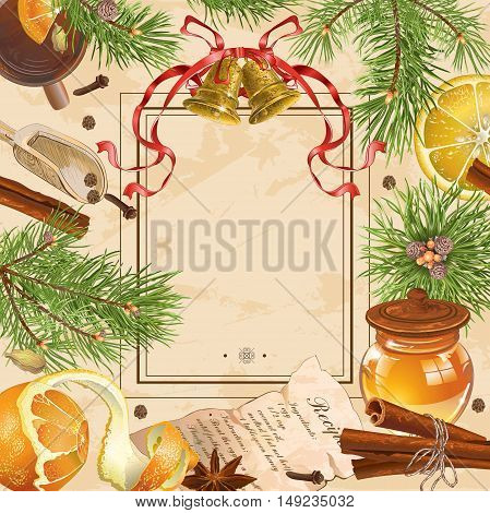 Vintage Christmas frame with pine branches, bells tea cup and spices. Design for cafe menu, advertising flyer, party invitation, greeting card. With place for text