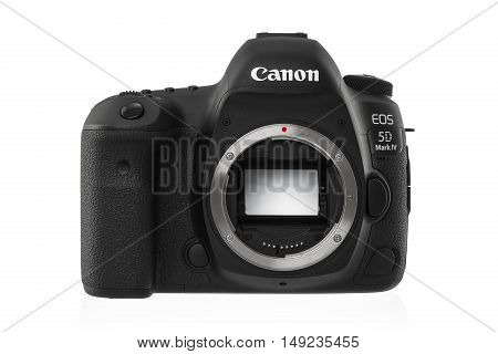 Varna Bulgaria - September 24 2016: Canon 5D Mark IV camera on a white background. Canon is the world largest SLR camera manufacturer.