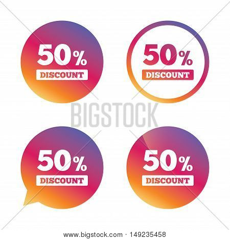 50 percent discount sign icon. Sale symbol. Special offer label. Gradient buttons with flat icon. Speech bubble sign. Vector