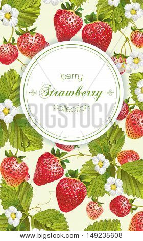 Vector strawberry vertical banner. Design for tea, natural cosmetics, beauty store, dessert menu, organic health care products, perfume, aromatherapy. With place for text