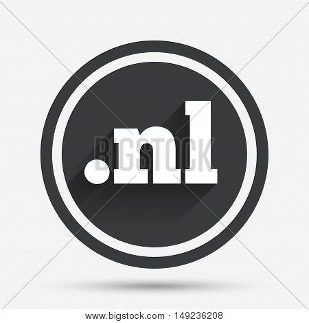 Domain NL sign icon. Top-level internet domain symbol. Circle flat button with shadow and border. Vector