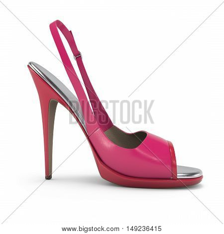 Glamour Pink Women Shoes Isolated On White Background 3D Rendering