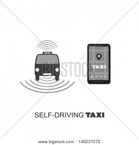 Self-Driving Taxi Design Concept For Logo, Mobile Application UI, Ordering Service - Vector Illustration