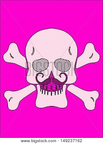 white skull with bone and pink mustache and pink background