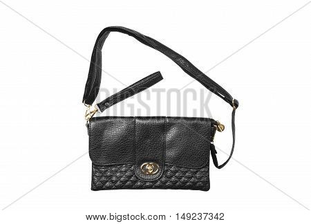 chic luxury leather black hand bag with sling strap and zipper for woman on white background isolated included clipping path
