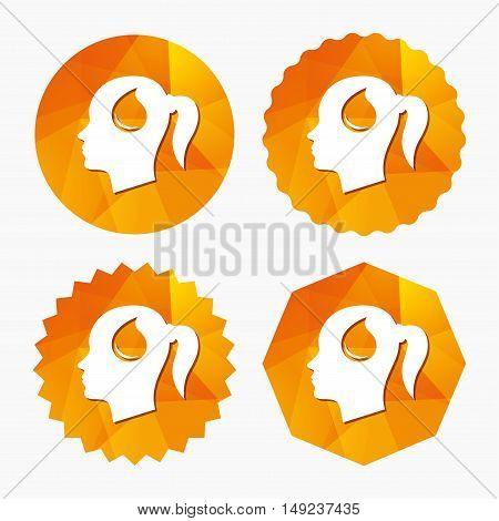 Head with blood drop sign icon. Female woman human head symbol. Triangular low poly buttons with flat icon. Vector