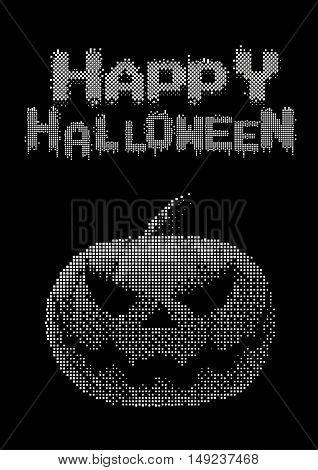Halloween pumpkin jack lantern with white digital pixel 8 bit style on dark background