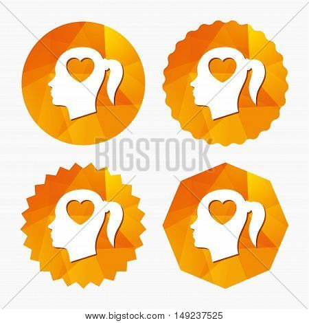 Head with heart sign icon. Female woman human head in love with pigtail symbol. Triangular low poly buttons with flat icon. Vector