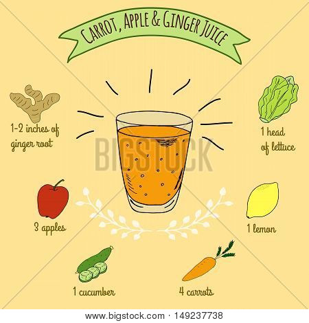 Hand drawn sketch illustration. Recipe and ingredients of healthy energy drink for restaurant or cafe. Vegan Detox drinks. Gluten free drinks. Vegetarian Smoothie Recipe. Apple and Carrot Juice.