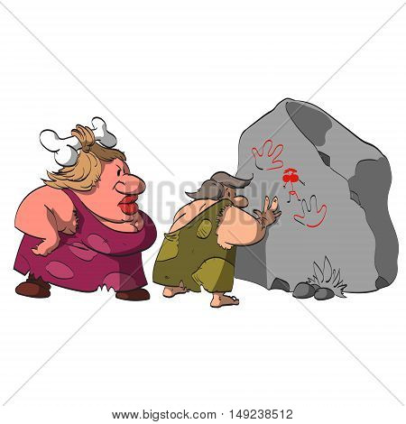 Cartoon vector illustration of a caveman caught by his big and strong grumpy wife watching and paiting cave pictures of naked women