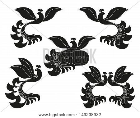 Vector set of abstract silhouette of the bird. The template for logos signs labels.