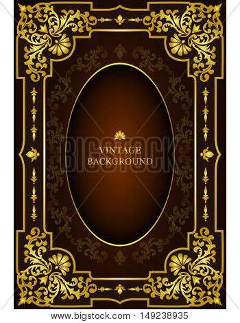 Vector luxury vintage border in the baroque style with gold floral pattern frame. The template for the book cover old royal pages invitations greeting cards certificates diplomas.
