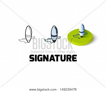 Signature icon, vector symbol in flat, outline and isometric style