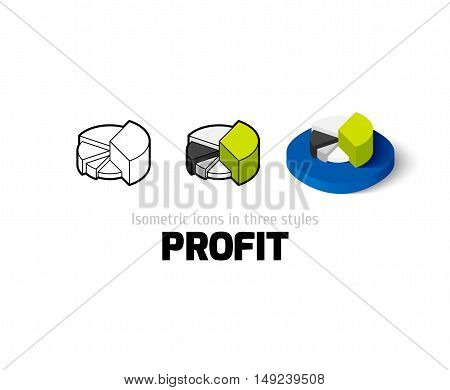 Profit icon, vector symbol in flat, outline and isometric style