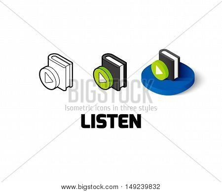 Listen icon, vector symbol in flat, outline and isometric style