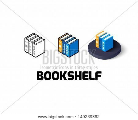 Bookshelf icon, vector symbol in flat, outline and isometric style