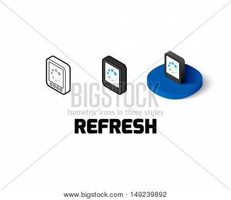 Refresh icon, vector symbol in flat, outline and isometric style