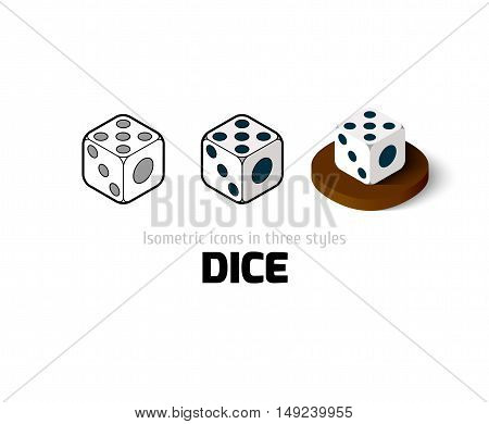Dice icon, vector symbol in flat, outline and isometric style