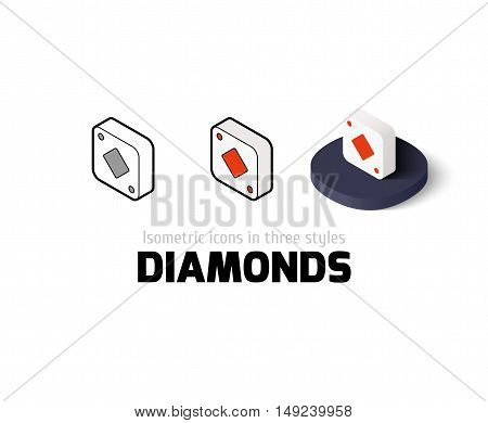 Diamonds icon, vector symbol in flat, outline and isometric style