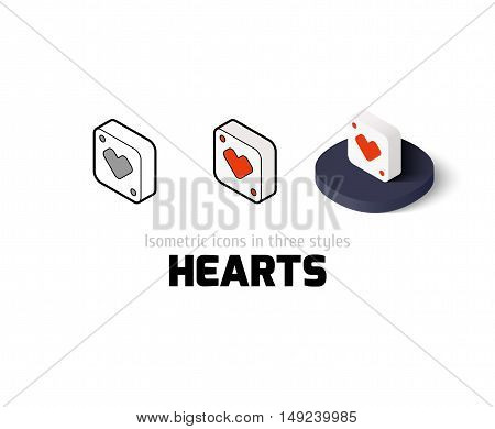 Hearts icon, vector symbol in flat, outline and isometric style