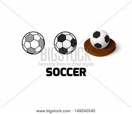 Soccer icon, vector symbol in flat, outline and isometric style