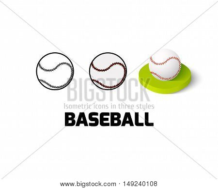 Baseball icon, vector symbol in flat, outline and isometric style