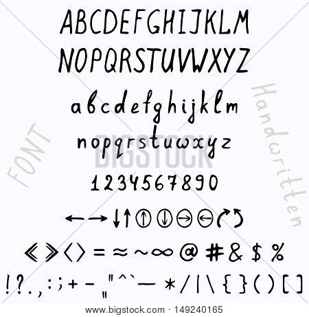 Handwritten font. A set of uppercase and lowercase letters digits punctuation marks and arrows.